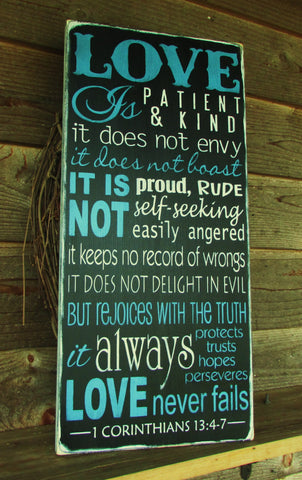 primitive sign, Love is patient love is kind, scripture plaque, inspirational sign, home decor, elegant home decor, wall art, topography sign
