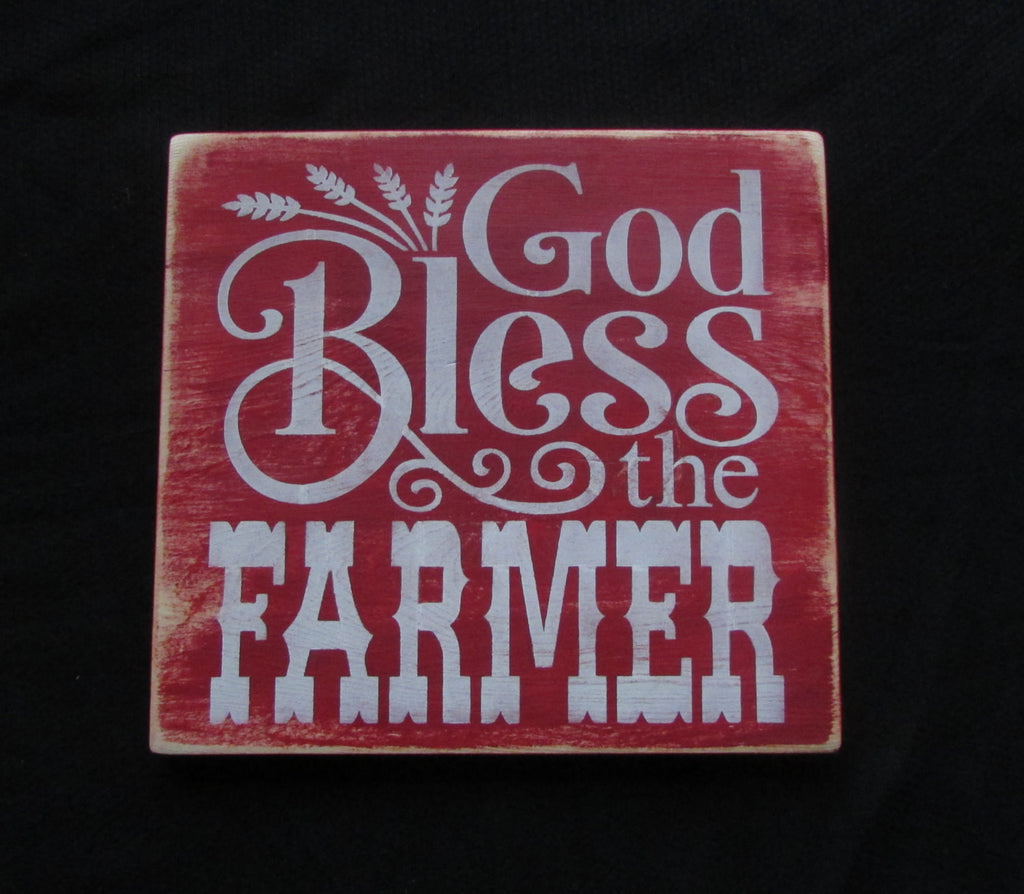God Bless The Farmer Wood sign, primitive country decor, sign, farmer, Farmer Blessing, country decor, hand painted sign, wall decor , rustic