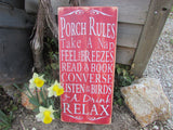 porch rules, patio rules, distressed,wood sign, primitive country , rustic sign , primitive decor, patio decor, sign,  garden decor,