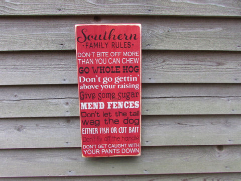 wood sign, Family rules, house rules, funny family rules , Southern Family Rules, hand paint, primitive sign, wall decor, hand painted sign,