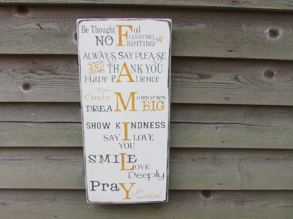 Primitive, Rustic, Family rules sign, wood sign, primitives, housewares, inspirational signs, distressed, wall hanging, wedding gift, sign