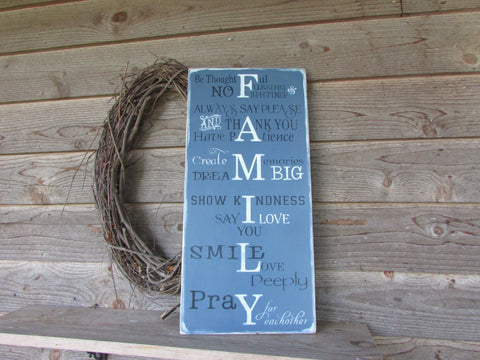 family rules sign, primitive rustic sign, country decor, hand painted distressed, home decor, wedding gift, shabby chic family rules , sign