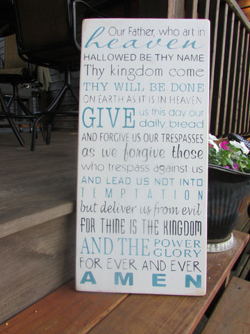 lords prayer sign, cottage chic, primitive rustic country, home decor, inspirational sign, scripture sign, wedding gift, hand painted sign