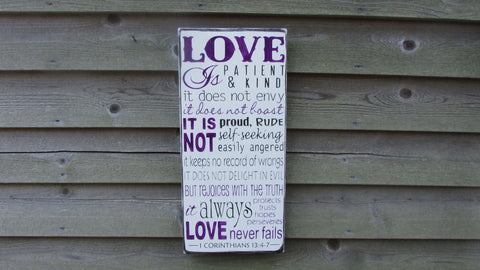 Love is patient Love is Kind, rustic sign, primitive sign, Love sign , wedding sign, primitive home decor, family rules sign, wall hanging,