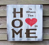 primitive rustic sign, hand painted wood sign. pallet like sign.  reclaimed wood sign, distressed sign. home is where the heart is sign