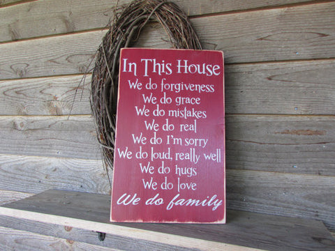 Primitive country decor, wood sign, hand painted sign, distressed sign, family rules sign, by Mockingbird Primitive