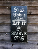 Kitchen sign, funny kitchen sign, Kitchen Menu sign, hand painted wood sign, primitive country decor, rustic decor, farmhouse decor, sign