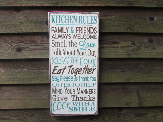 Family rules signs, primitive home decor, Kitchen signs, Primitive kitchen home decor, wood signs, hand painted wood signs