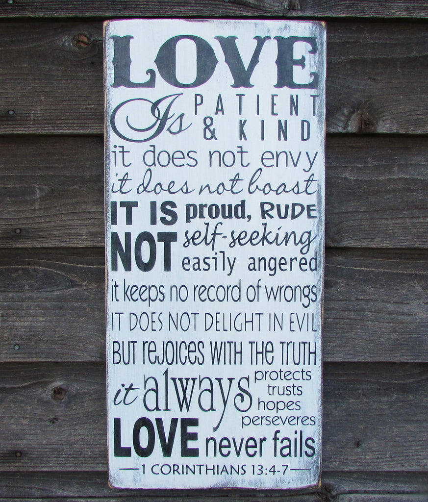 love is patient love is kind primitive rustic hand painted wood sign, shabby chic sign, scripture sign, wedding gift, wedding shower gift