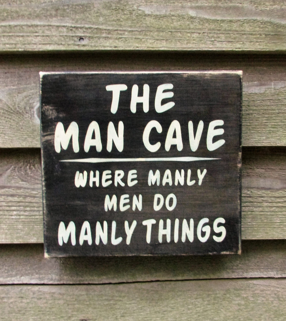 man cave sign, gift for dad, primitive rustic home decor, hand painted wood sign, man cave home decor, man cave ideas