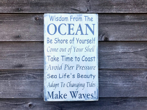 Hand painted wood ocean sign, nautical decor, nautical design, beach sign, ocean rules, primitive rustic ocean sign, ocean plaque , sign
