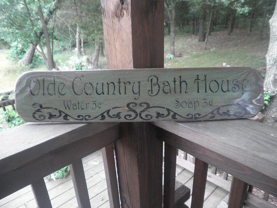 Bathroom Decor Primitive Bathroom Sign Rustic Bathroom Sign