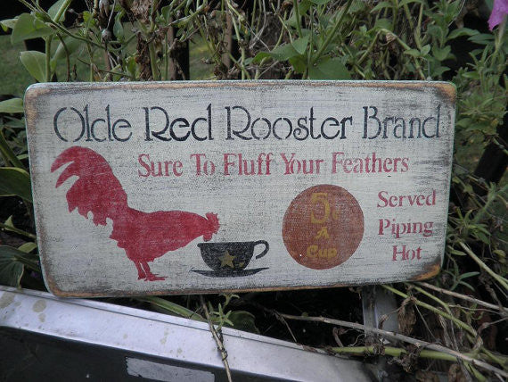 country kitchen decor, primitive, rustic, hand painted, wood rooster sign by Mockingbird Primitive