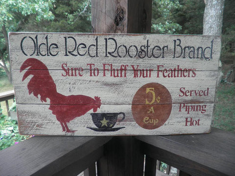 Primitive wood Rooster sign, Kitchen rooster sign, country kitchen sign, primitive rustic home decor
