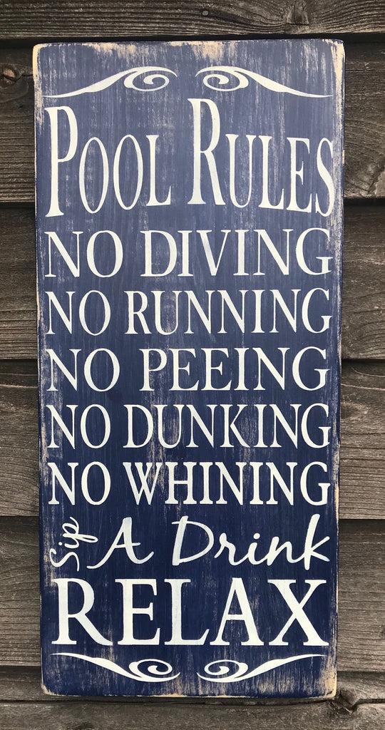 Hand Painted wood sign pool rules sign Primitive rustic sign pool sign outdoor decor