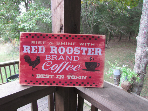primitive kitchen decor, coffee sign, rustic wood sign, hand painted by mockingbird primitive