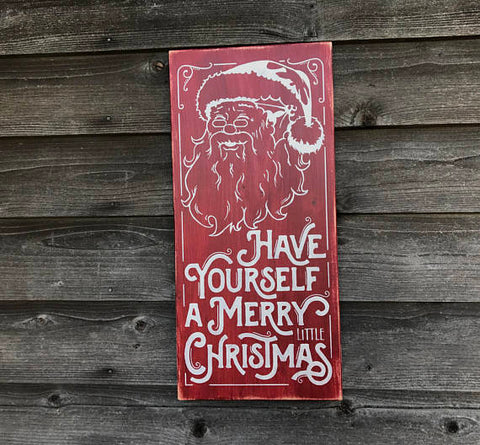 Christmas sign, merry Christmas sign, Santa sign, Christmas home decor, farmhouse Christmas decor, primitive rustic home decor, wood sign