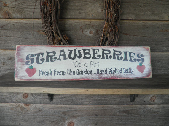 primitive rustic sign, kitchen sign strawberries, hand painted wood sign