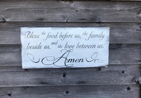 Bless the food before us kitchen sign, kitchen prayer sign, hand painted wood sign, distressed sign, primitive country sign, home decor
