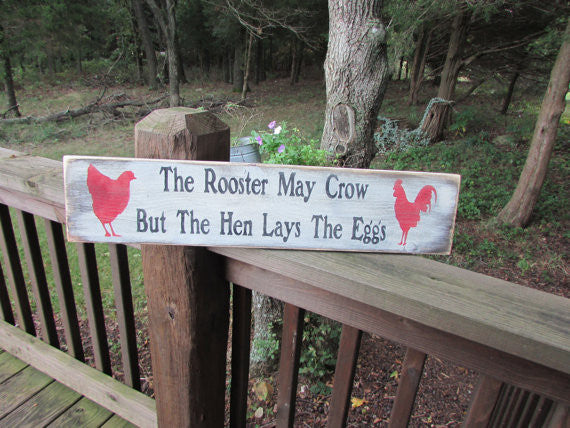 Rustic primitive wood sign, rooster sign