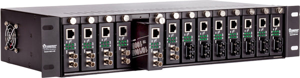 Chassis fiber media converters