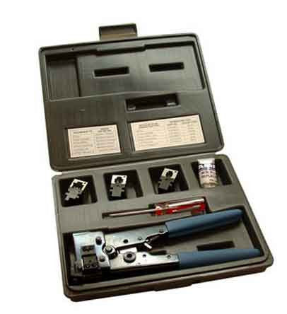 Modular Tool Kit Has Case/Tool Frame/8 & 4&6 Position Dies Blade & Screwdriver