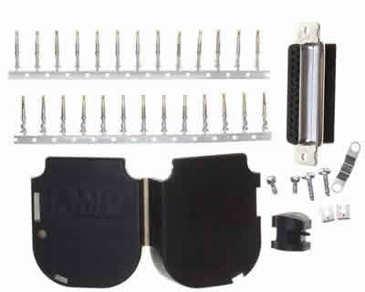 Db25 Crimp Female Kit With Plastic Shell Hood Contacts And Hardware RoHS