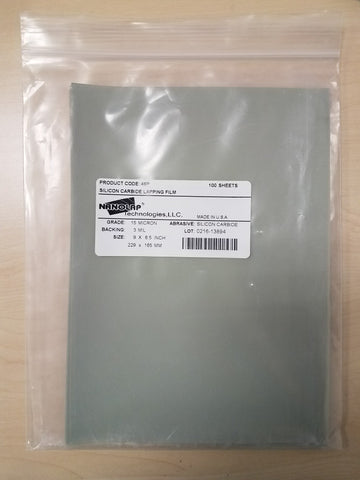 "Polish film sold in packs of 25 sheets, (Silicon Carbide, Grit 15µm), Standard Sheets 9"" X 6.5"""