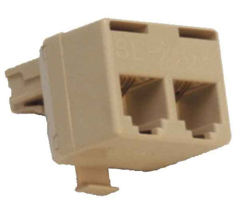 Modular T adapter, 4-wire for telephone and modem