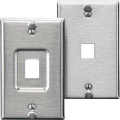 QuickPort Stainless Steel Wallplate w/Rivets for Phone/VOIP, Mfr Leviton