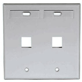 QuickPort Double Gang 2 Port Faceplate w/Designation Windows, Mfr Leviton