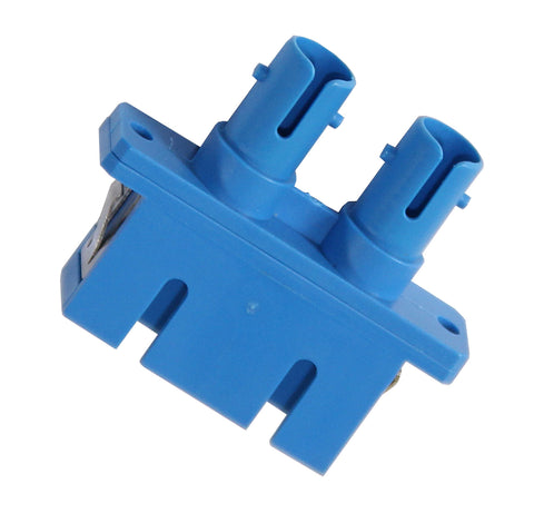 Duplex SC-ST (female-female) Adapter, Polymer Housing, Phos. Bronze Sleeve, Blue Color, Mfr TE Conne
