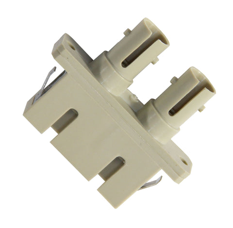Duplex SC-ST (female-female) Adapter, Polymer Housing, Phos. Bronze Sleeve, Beige Color, Mfr TE Conn