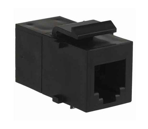 1-Port Mod Coupler 6W6P Cat3 Inline Keystone Black