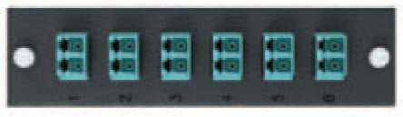 Six Pack, Duplex LC MM (OM3&4) 12 Fiber (Aqua) - Leviton OPT-X Adapter Plate