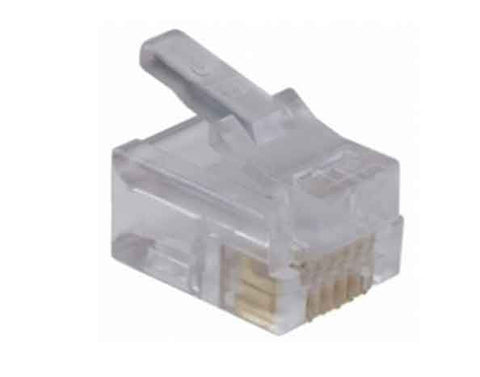 Mod Plug 6 Position 6 Conductor For Flat Or Oval 28/24 AWG Solid Wire Long Body Plug Pkg Of 25, RoHS