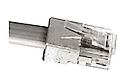 Mod Plug 8 Position 8 Conductor For Round 28/24 AWG Stranded Cable 25/pk