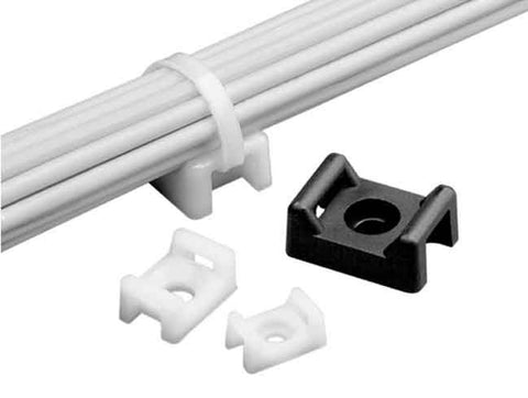4-Way Adhesive Backed Cable Tie Mount For Use with Nylon Cable Ties White, 100/pk ROHS