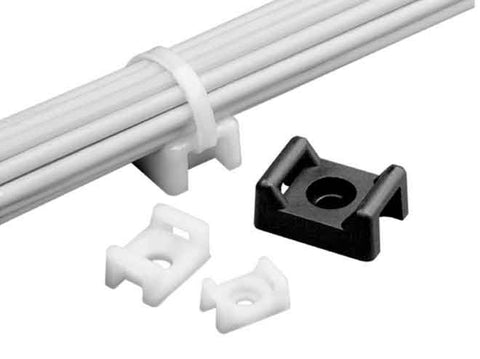 4-Way Adhesive Backed Cable Tie Mount, White, 100/pk