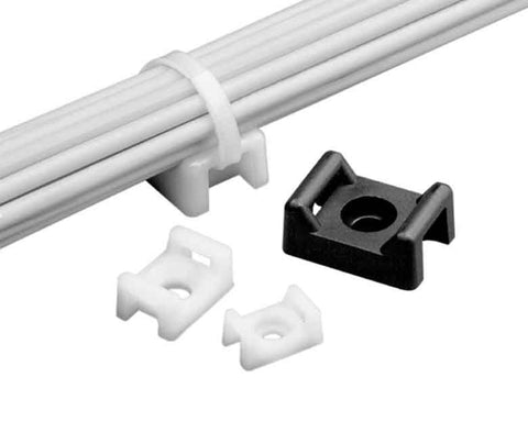 4-Way Adhesive Backed Cable Tie Mount Support 30LB White, 100/pk