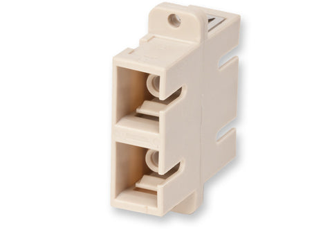 Fiber Optic Adapter, SC Duplex, Full-Flange Mount, Ceramic Sleeve, 62.5 µm multimode (OM1), beige