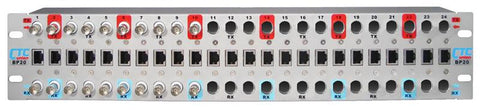 "BP20-CH10 24 slot 19"" rack mountable G.703 Balun Patch panel chassis with 10 installed E1 BNC female Baluns"