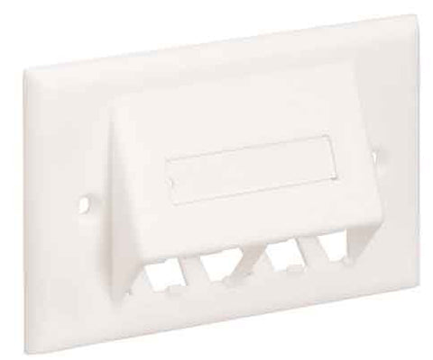 4-PORT Sloped Horizontal With Labels, Off White