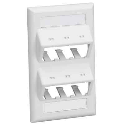 MINI-COM Classic Series Faceplates with Labels, 6-PORT SLOPED