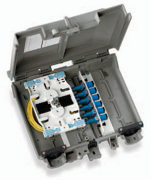 Leviton Fiber Optic Network Interface Device NID houses 12 splices and/or (1) FD series adapter pane