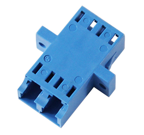 Duplex Single Mode LC Mating Sleeve, Zirconia Sleeve, Blue Color, SC Footprint, Snap & Screw Mount
