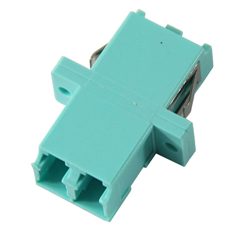 10Gig Duplex Multimode LC Mating Sleeve, Aqua Color, SC Footprint, Snap & Screw Mount