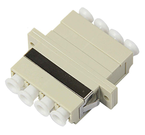 10Gig Quad Multimode LC Mating Sleeve, Beige Color, Duplex SC Footprint, Snap & Screw Mount