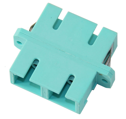 Duplex 10Gig Multimode SC Mating Sleeve, Multimode, Polymer Housing, Aqua Color