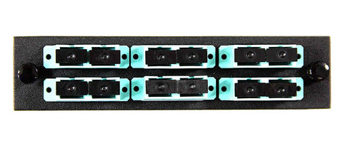 SC Duplex 6 pack( Multimode - 10 Gig Loaded ) Black Adapters